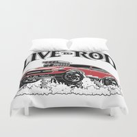 1975 Duvet Covers featuring 280z GASSER by SCREAMNJIMMY