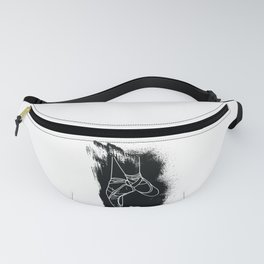 Outline of Ballet Pointe Shoes on Black Background Fanny Pack