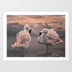 Flamingo Lovers Art Print