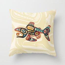 Salish Salmon Throw Pillow