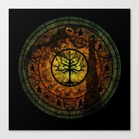 gondor Canvas Prints featuring Tree of Gondor Stained Glass by Mazuki Arts