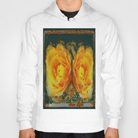 shabby chic Hoodies featuring Antique Style Shabby Chic Yellow Roses Green Art by SharlesArt