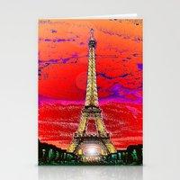 dark tower Stationery Cards featuring Eiffel Tower after dark by JT Digital Art