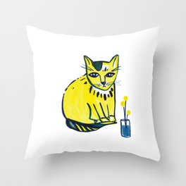 Yellow Cat with Craspedia Throw Pillow