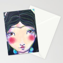 YOUNG FRIDA WITH NECKLACE Stationery Cards
