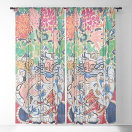 Lion, Cheetah and Tiger Still Life - Wildflowers in Wild Cat Vase After Matisse Sheer Curtain