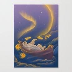 Golden fish and sailing polar bear  Canvas Print