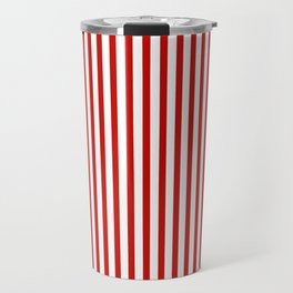 Red & White Maritime Vertical Small Stripes - Mix & Match with Simplicity of Life Travel Mug