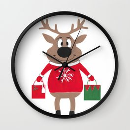 Merry Christmas Reindeer Wall Clock