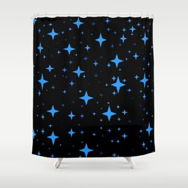 Bright Blue  Stars in Space Shower Curtain