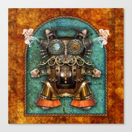 Cacotopia Steampunk Kitty - brass Canvas Print