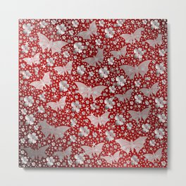 silver, red,flowers, stars, butterfly, pattern, bright, shiny, elegant, color Metal Print