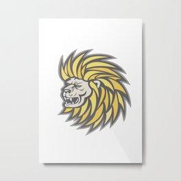 Lion Head With Flowing Mane Retro Metal Print