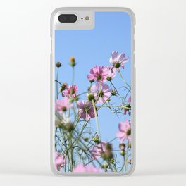Pink Lavender Pastel Flowers Clear iPhone Case