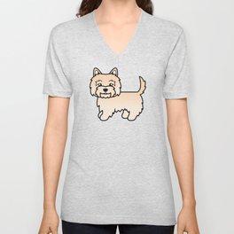 Cute Cream Cairn Terrier Dog Cartoon Illustration Unisex V-Neck