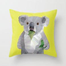 Koala with Koalafication Polygon Art Throw Pillow