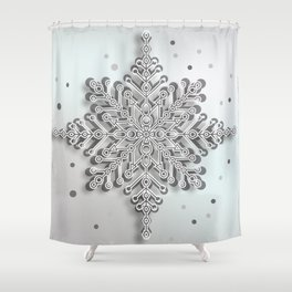 snow crystal Papercut Shower Curtain