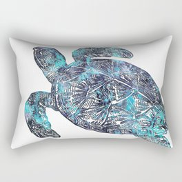 Sea Turtle Blue Watercolor Art Rectangular Pillow