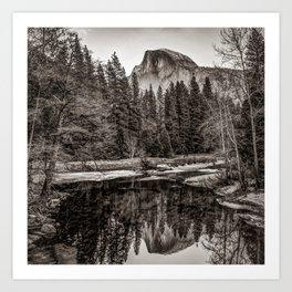 Yosemite Half Dome Mountain Landscape Reflection - Sepia Square Format Art Print