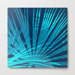 Tropical Blue Fan Palm Leaves Abstract Design Metal Print