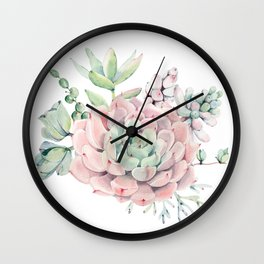 Pink Succulents by Nature Magick Wall Clock