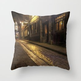 Cobbles street at night Throw Pillow