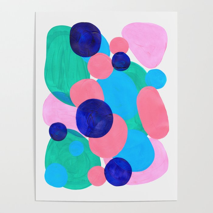 Mid Century Modern Minimalist Abstract Painting Pastel Pink Blue Teal Bubbles Cool Shapes Fun Patter Poster