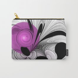 Abstract Black And White With Orchid Carry-All Pouch