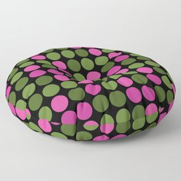 Pink and olive polka dots on black bubbles circles retro vintage Floor Pillow