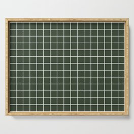 Kombu green - green color - White Lines Grid Pattern Serving Tray
