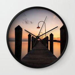 Rusty Rudder Dock Sunset Wall Clock