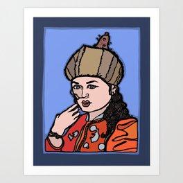 Central Asian Woman Fixing Hair Art Print