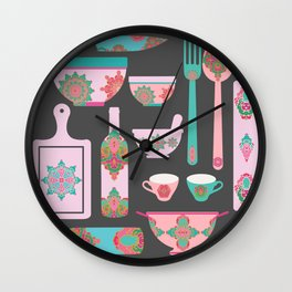 Boho Kitchen in turquoise, lilac and pink shades Wall Clock