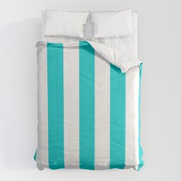 Dark turquoise - solid color - white vertical lines pattern Comforters