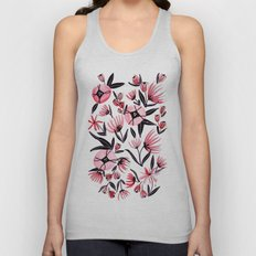 Black and Peach Flowers - Watercolor Pattern Unisex Tank Top
