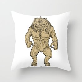 Cyclops Standing Drawing Throw Pillow