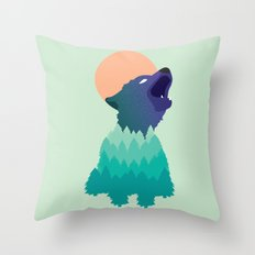 Evergreen Coyote Throw Pillow