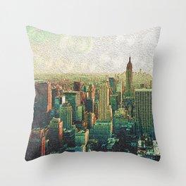 New York City Skyline Vang Gogh Style Oil Painting Throw Pillow
