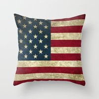 american flag Throw Pillows featuring American Flag by Nechifor Ionut