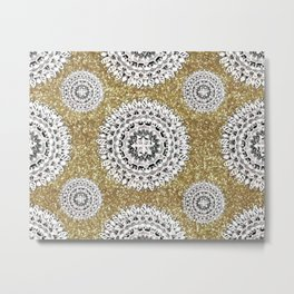 Gold litter and Silver Mandala Patterned Textile Metal Print