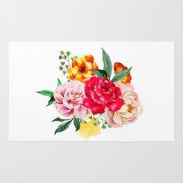 Watercolor Spring Flowers Rug
