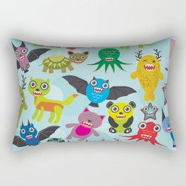Cute cartoon Monsters seamless pattern on blue background Rectangular Pillow