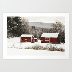 The Red Barn in Winter Art Print