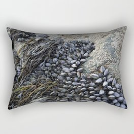 Mussel Bed on Ocean Weathered Rocks Rectangular Pillow