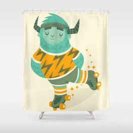 Roller Skating Yeti Shower Curtain