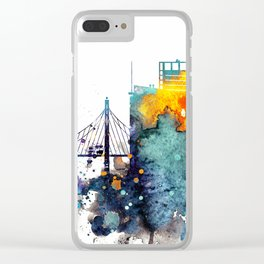 Watercolor Oakland skyline cityscape Clear iPhone Case