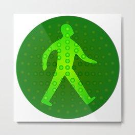 Green Walking Man Metal Print