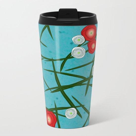 Japenese Water Flowers Pattern Metal Travel Mug