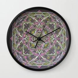 Green and Purple Mandala Wall Clock
