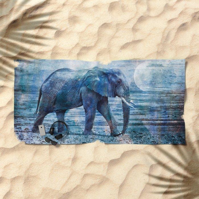 The Elephants Journey Blue Moon Beach Towel